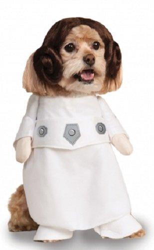 Hunde Kostüm Leia - Fancy Me Haustier Hund Katze Welpe Animal Star Wars Prinzessin Leia Halloween Maskenkostüm Kleidung Outfit - Extra Large