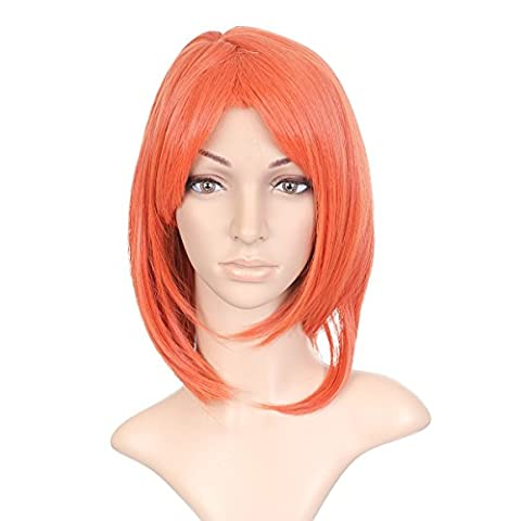 Orange rouge Shoulder Length Hair Anime Cosplay Costume perruque