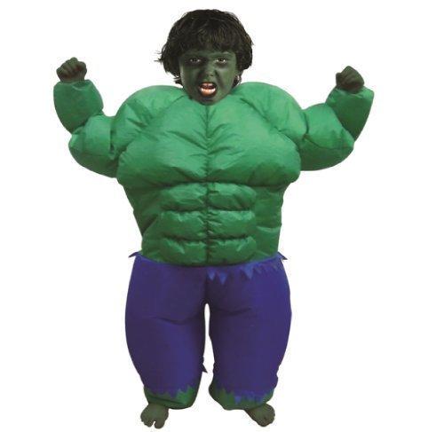 Kinder Aufblasbares Hulk Grüner Muskelmann Anzug Kostüm Outfit Neu