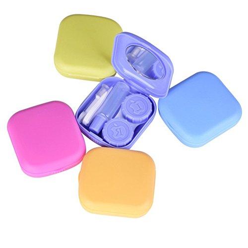 drawihi Mini Reiseset Box Fall von Kontaktlinsen linsen mit klein Spiegel Pinzette Applikator und Objektiv-Box Flasche Lösung quadratisch
