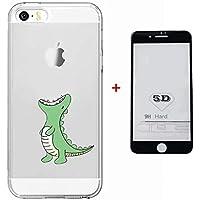 Funda iPhone SE/5/5S Case + 5D Protector de Pantalla de Vidrio Templado Lanpangzi TPU Silicona Ultra Suave Transparente Anti-rasguños Cover - Dinosaurio