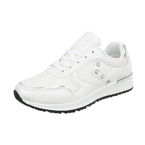 1420c781c44c86 Ital-Design Sneakers Low Damen-Schuhe Schnürsenkel Freizeitschuhe Weiß