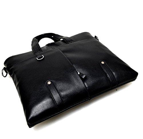 BULAGE Taschen Leder Business Dokument Mann Hand Schulter Kurier Freizeit Leder Tourismus Black