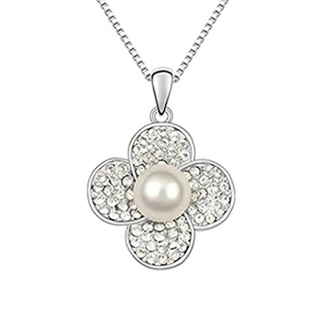 KnSam Collier Femme Alliage Pendentif Fleur Perle Blanc [Collier Fantaisie]