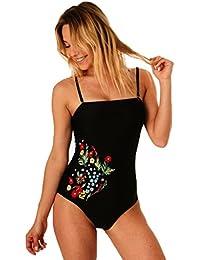 Maillot de Bain Femme 1 Pièce Monokini Bustier - Noir Motif Fleurs