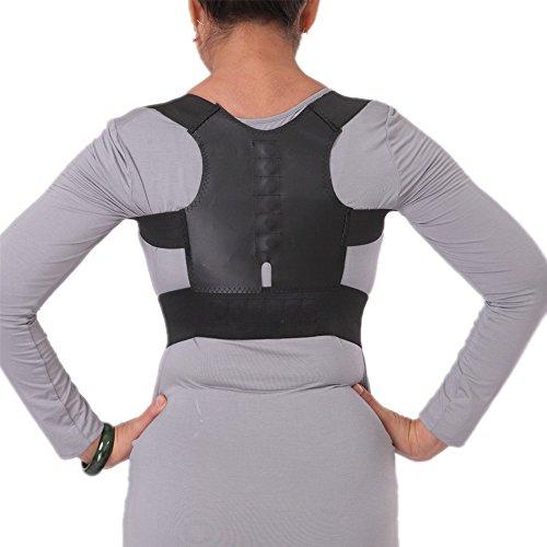 AGIA TEX Komfort Haltungskorrektur Rücken-Bandage, Geradehalter Lenden-Wirbelsäule für Damen und Herren, bei Rückenschmerzen Bandscheibenvorfall Hexenschuss, für Arbeit & Sport, verstellbar, atmungsaktiv, mit 12 Magnete für bessere Durchblutung, schwarz, Grösse M = 65 - 85 cm Brustumfang