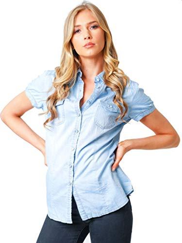 SS7 Damen Jeanshemd aus Baumwolle Cap-sleeve-chemise
