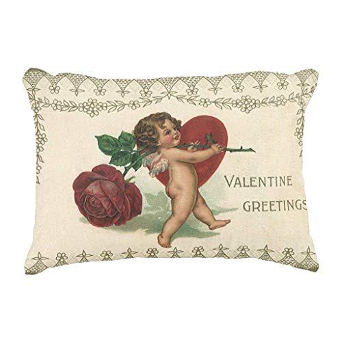 Meimei2vintage victorian valentine cherub rose e cuore decorativo copriletto federa per cuscino 45,7x 45,7cm