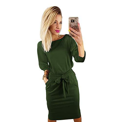 Longwu donna elegante manica a sbuffo indossare al lavoro casuale vestito con la cintura verde dell'esercito-s