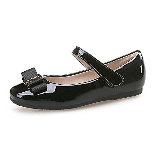 Kinder Mädchen Ballerinas Schuhe Prinzessin Lackschuhe mit Mode Single Schuhe (34 Inner länge: 22,5cm, Schwarz)