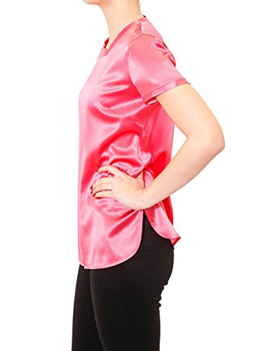 PINKO. Blusa Donna Intenso2 Rosa in Satin Strech in Seta Girocollo con Spacchi Laterali 1G13AFY4FGP47 pink