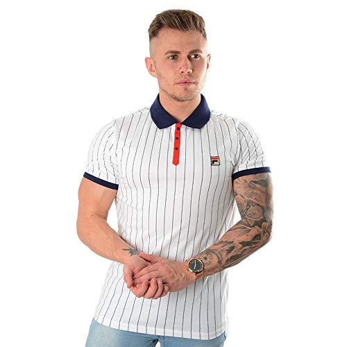 Fila Vintage Herren BB1 Vintage gestreiftes Polo-Shirt, Weiß, Medium (Fila Shirt Vintage)