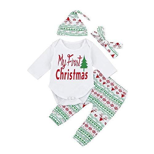FIRSS-Mädchen Weihnachtskostüm 4pcs Outfits My First Christmas Tops + Hosen + Mütze + Stirnband Weihnachten Drucken Baby Langarmshirt ()