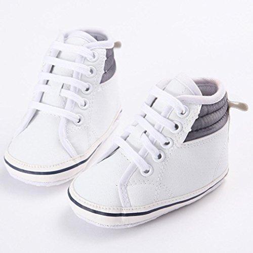 Babyschuhe Longra Babymädchen oder jungen Canvas Schuh Sneaker rutschfest weiche Sohle Kleinkind Lauflernschuhe Krippeschuhe (0 ~ 18 Monate) White