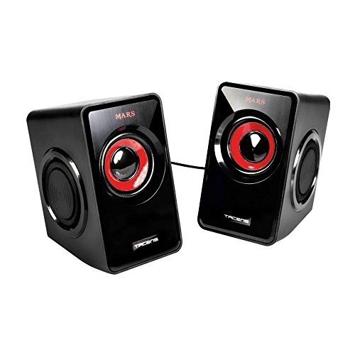 Mars Gaming MS1 - Altavoces Gaming para PC (10 W, 6 drivers, 4 pasivos y 2 activos, subwoofer para graves, alimentación USB, jack 3.5 mm), color negro y rojo