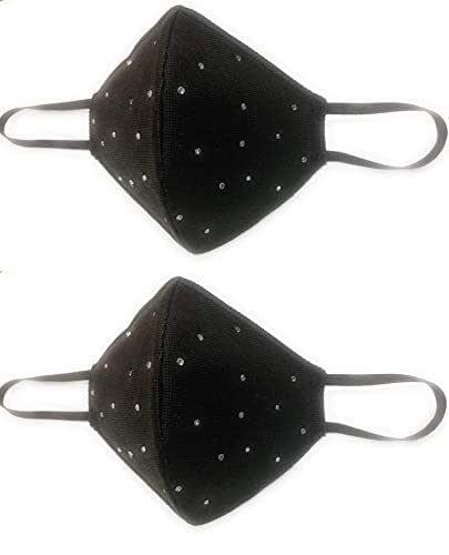 Set di 2 mascherine nere a coppetta con brillantini