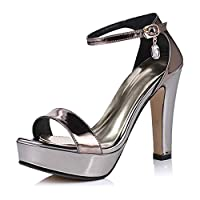 BIAN Heeled Sandals for Women Chunky Heel Plaform Single Band Ankle Strap with Faux Crystal Pendant Patent Round Toe (Color : Color, Size : 38 EU)