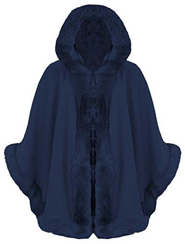 Baleza Damen-Poncho mit Kunstpelzbesatz, von Promis inspiriert, Italienischer Stil, mit Kapuze, für den Winter, wasserabweisend, Größe 36-46, blau -