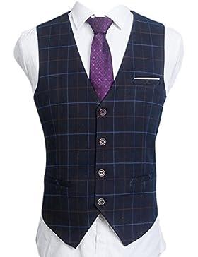 laixing Hombres Slim Fit de negocios celosía Casual chaqueta esmoquin traje de chaleco chaleco