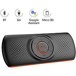 Aigoss Mains Libres pour Voiture Bluetooth 4.2 Kit avec Siri et Google Assistant de Voiture Haut-Parleur sans Fil pour Visière, Connexion de 2 Téléphones Simultanément