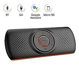 Aigoss Vivavoce Bluetooth 4.2 per Auto con Siri e Google Assistant, Kit per Auto Altoparlante Wireless da Visiera, 2 Connessioni per Telefoni Contemporaneamente