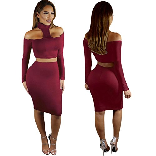 robe femme sexy, Transer ® Femmes sexy dames 2 pièces Set robe foulard Wrap manches longues chemisier jupe Bodycon Vin