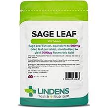Lindens Hoja de salvia 500 mg en comprimidos | 100 Paquete | Extracto de hoja de