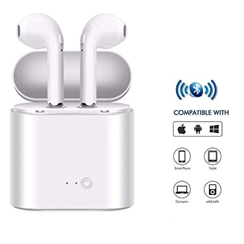 Meya Happy Apple iPhone 6 / 6S / 7 / 7S Compatible Dual Use Airpods Wireless Earphones with Mic for Mobile Phones/Tablets Wireless Bluetooth Headphones with Built-in Charging Case for Earbuds