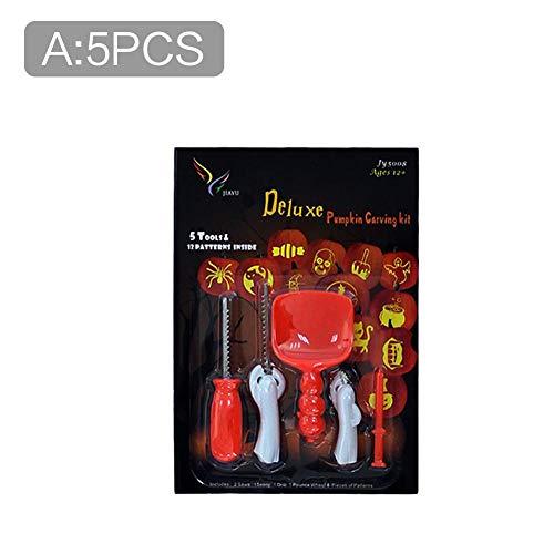 Destinely halloween zucca intaglio kit, strumenti professionali per intaglio di zucca in acciaio inossidabile con 8 disegni extra intaglio leggero di zucca fai-da-te per halloween