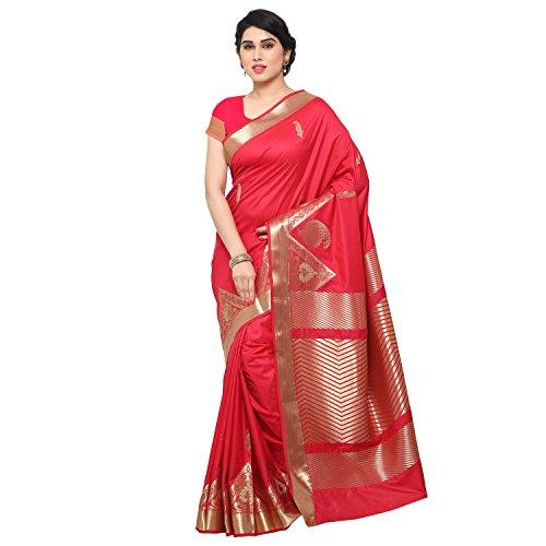 Varkala Silk Sarees Women's Art Silk Paithani Saree With Blouse Piece(JB5008RNRD_Pink_Free Size)