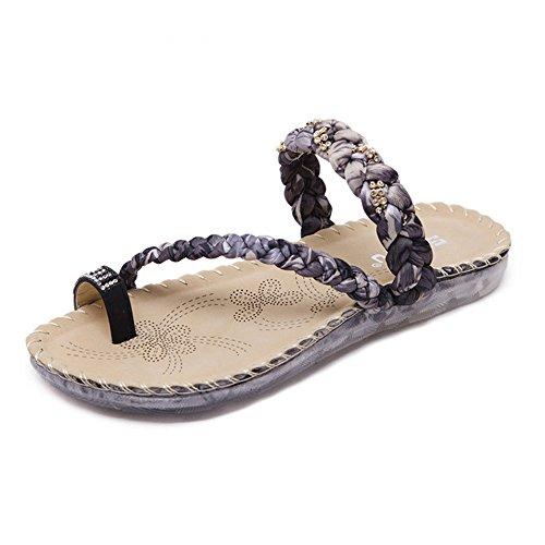 Longra Donna Toe Shoes Boemia strass Nero