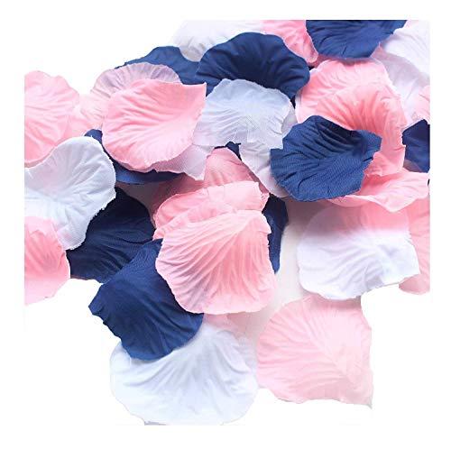 900 stück gemischte Marineblau Rosa Weiß Kunstseide Rosenblatt Blume Mittelstücke Tisch streut Konfetti ersten Geburtstag nautische Hochzeit Baby Shower Dekoration gefallen (Hochzeit Dekorationen Nautische)