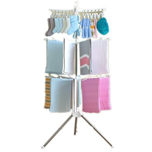 KAIMENG Wäscheständer, dreidimensional, drehbarer Boden, faltbar, für Windschutzscheibe, 3 Ebenen, platzsparend, Kleiderbügel für Socken und Handtücher weiß
