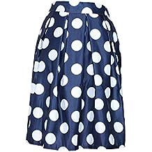 Moollyfox Sencilla De Lunares Impresos Cintura Alta Midi Plisada Jupe Mujeres Retro Tutú Faldas