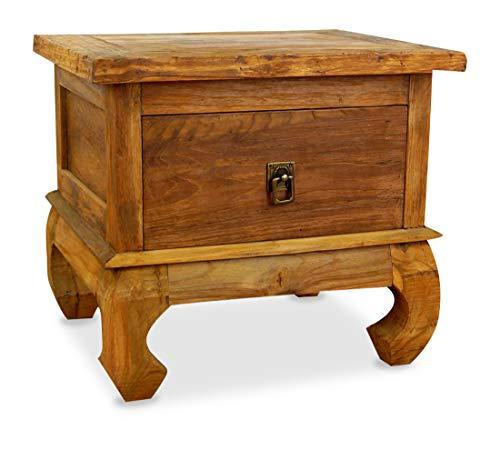 livasia Java Opiumtisch aus Teakholz | Beistelltisch aus Massivholz | Nachttisch der Marke Asia Wohnstudio | Nachtschrank | Kommode