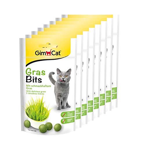 GimCat Gras Bits – mit natürlichen Vitaminen und Nährstoffen aus getrocknetem Gras – ohne Zuckerzusatz und getreidefrei – 8 x 40 g Beutel