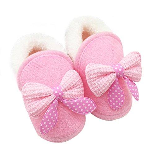 FEITONG Kleinkind Säugling Baby Bowknot Schuhe weiche Sohle Aufladungen Prewalker warme Schuhe (0 ~ 6 Monate, Rosa) Rosa