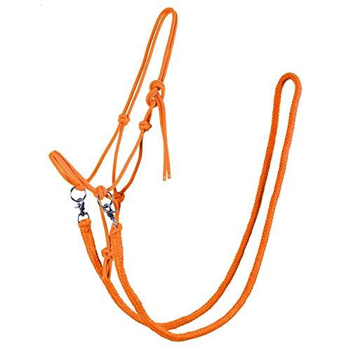 QHP Knotenhalfter mit Zügeln robustes 10 mm dickes Seil verschiedene Farben u. Größen (Pony, Orange)
