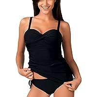 Charmley Tankini Jupette 2-Pièce Maillot de Bain Noir Grande Taille Rembourré à-Bretelle élégant Beachwear Pour Femme