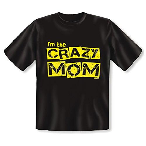 T-Shirt ::: Crazy Mom ::: Schwarz Schwarz