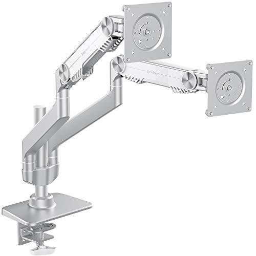 Bestand Dual Monitor Arm Halterung Ständer für LCD LED Computer Bildschirm bis zu 68,6cm Drehgelenk Gas Spring, Aluminium Dual Arm Desk Mount Dual Monitor Arm silber Led-dual-mount