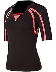 Naffta Tenis Padel - Camiseta de manga larga para mujer, color negro / coral medio, talla M