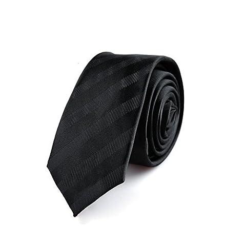 Z-P Mens Luxury Necktie Black Stripes Jacquard Skinny Microfiber Tie