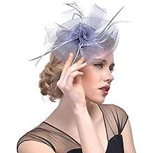 Sannysis Vintage tocado diadema para las mujeres Encantadora Diadema de  Flores Grandes Malla Mesh Plumas Pinza 43fd92a97bdb