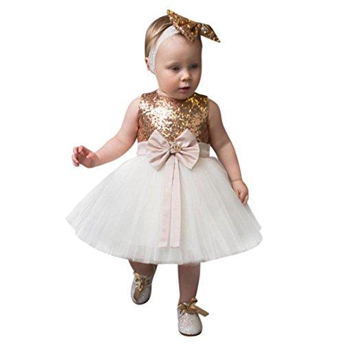 Kleine Prinzessin Pageant (Babykleidung Kinderkleidung Mädchen Kleider Longra Baby Kinder Festlich Kleider Mädchen Prinzessin Pageant Paillette Tutu Tüll Kleid Ärmellos Sommerkleider Hochzeit Partykleid (Gold, 90CM 2Jahre))