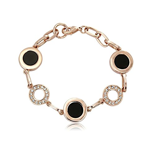 Gnzoe Schmuck Damenarmband Edelstahl Damen Armband Elegant Armschmuck Kreis Form Freundschaftsarmband Rose Gold 20CM (Damen-armband Cartier)