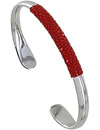 Les Poulettes Bijoux - Bracelet Mixte Demi Jonc Rhodium et Galuchat Colors