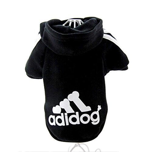 JUYUAN-EU Adidog HundeKleidung Warm Hoodies Mantel Hundejacke Hündchen Pullover T-Shirt Haustier Welpen Mantel Farbe:Schwarz Grösse:S