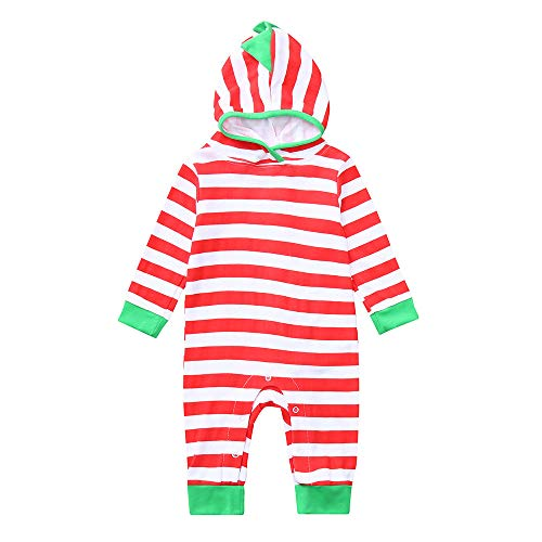 Oyedens Baby-gestreifter langärmeliger Dinosaurier-Overall mit Kapuze Neugeborenes Baby-Mädchen-Dinosaurier-Hoodie-gestreifter Spielanzug-Overall Outfits Kleidung (3M-24M