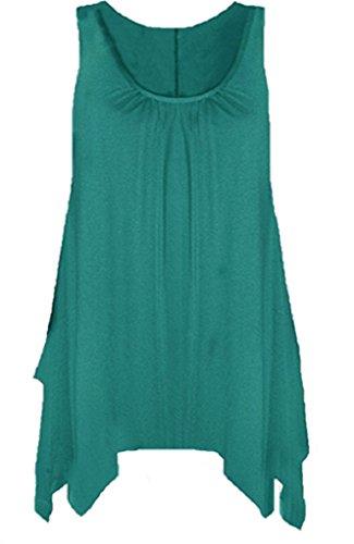 Frauen Tank-Top-Shirt Ausgestellt Swing-Top ärmellos Gr. 46-48/XXL, blaugrün
